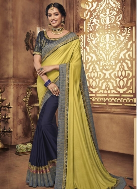 Art Silk Embroidered Work Half N Half Trendy Saree