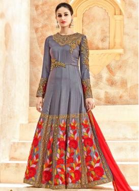 Art Silk Embroidered Work Long Length Designer Anarkali Suit