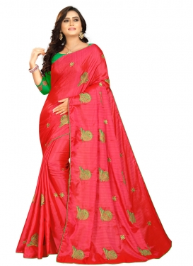 Art Silk Embroidered Work Mint Green and Red Trendy Saree