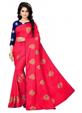 Art Silk Embroidered Work Navy Blue and Rose Pink Trendy Saree