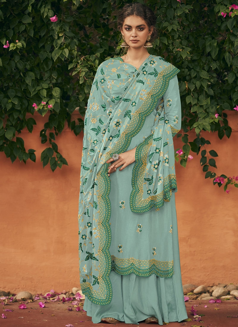 Art Silk Embroidered Work Palazzo Style Pakistani Salwar Suit