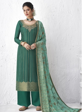 Art Silk Embroidered Work Palazzo Style Pakistani Salwar Suit