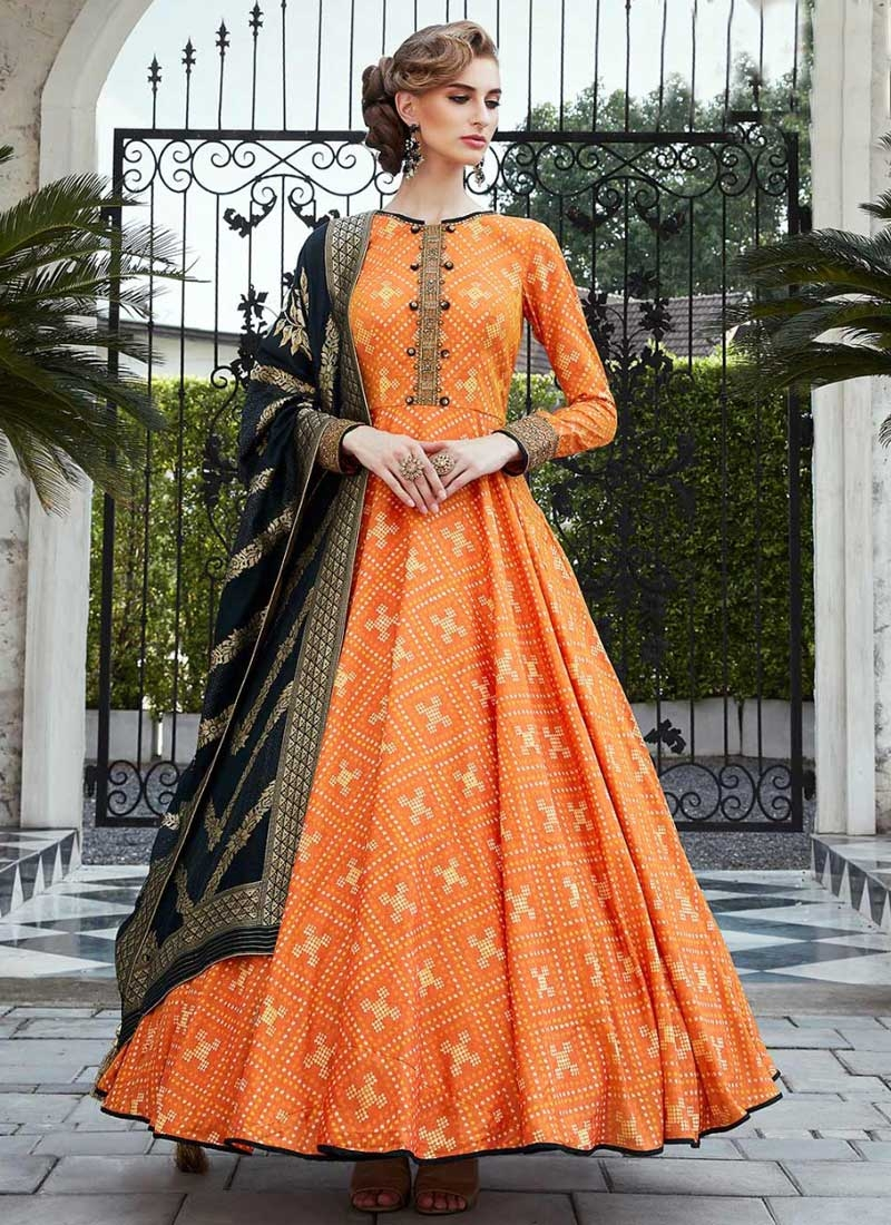 Art Silk Embroidered Work Readymade Long Length Gown