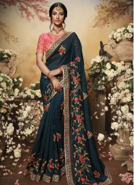 Art Silk Embroidered Work Traditional Designer Saree