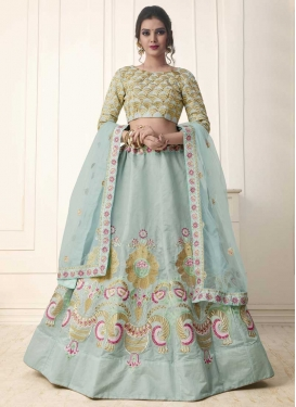 Art Silk Embroidered Work Trendy A Line Lehenga Choli