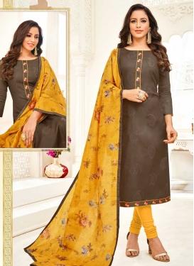 Art Silk Embroidered Work Trendy Churidar Salwar Suit