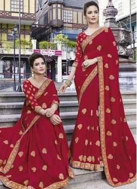 Art Silk Embroidered Work Trendy Classic Saree