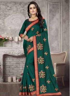 Art Silk Embroidered Work Trendy Saree