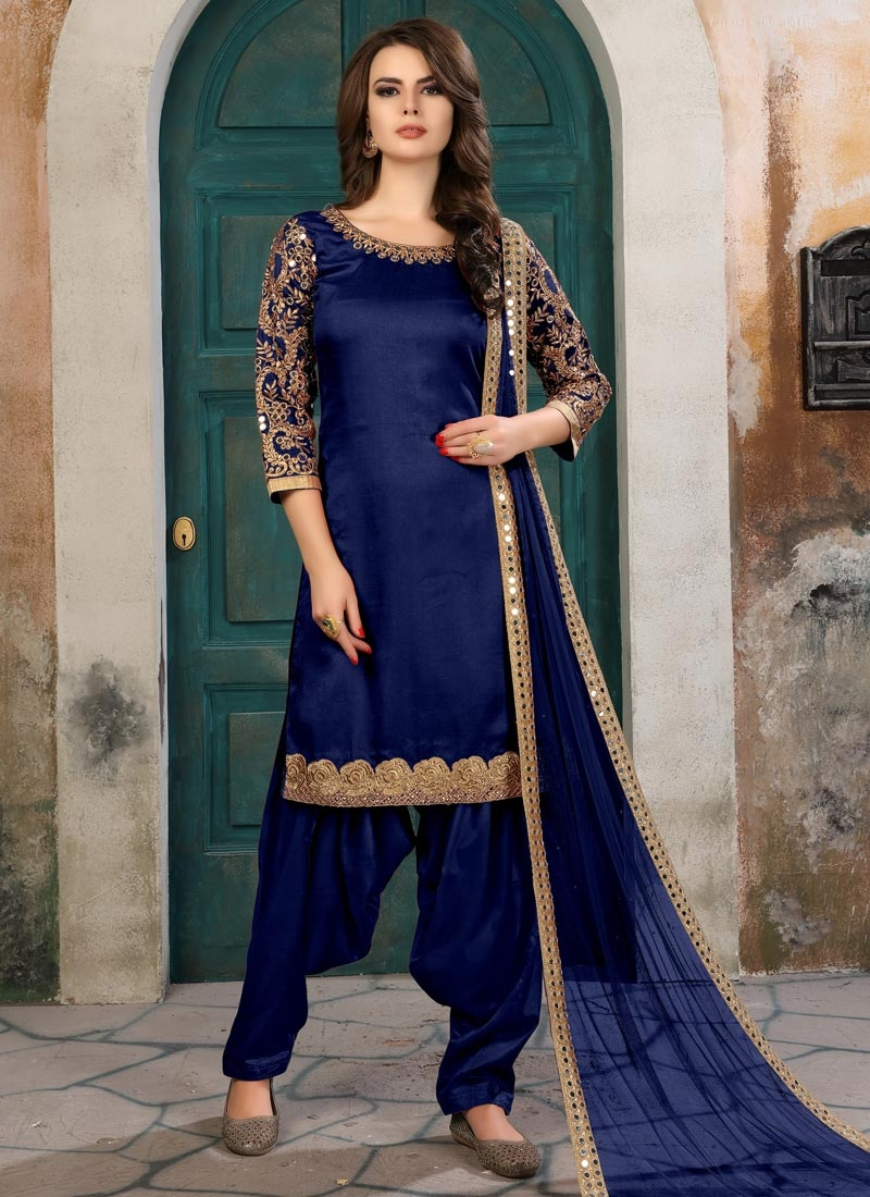 Art Silk Embroidered Work Trendy Semi Patiala Salwar Suit