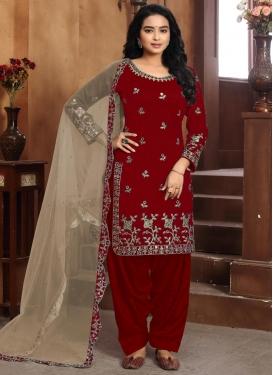Art Silk Embroidered Work Trendy Straight Salwar Suit