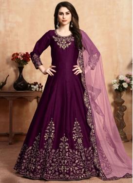 Art Silk Floor Length Anarkali Salwar Suit For Ceremonial