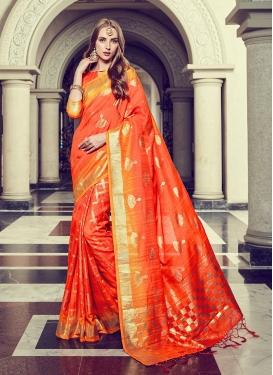 Art Silk Foil print Orange Trendy Saree