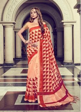 Art Silk Foil print Trendy Saree in Peach