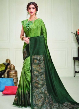 Art Silk Foil Print Work Green and Mint Green Designer Contemporary Style Saree