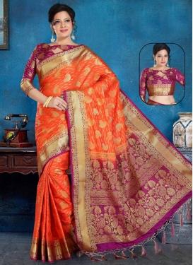 Art Silk Fuchsia and Orange Woven Work Traditional Designer Saree