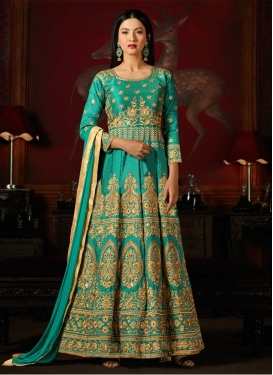 Art Silk Gauhar Khan Long Length Anarkali Salwar Suit