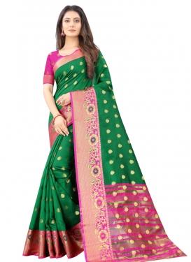 Art Silk Green and Magenta Woven Work Contemporary Style Saree