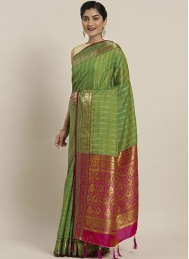 Art Silk Green and Magenta Woven Work Designer Contemporary Saree