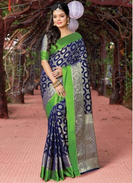 Art Silk Green and Navy Blue Trendy Saree For Festival