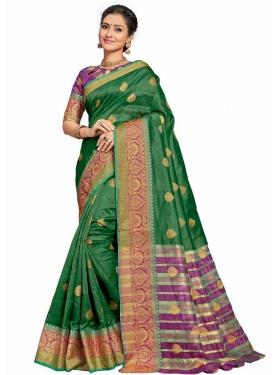 Art Silk Green and Purple Thread Work Classic Saree
