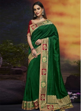 Art Silk Green and Red Classic Saree