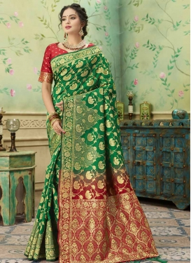 Art Silk Green and Red Designer Contemporary Saree