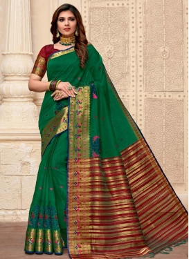 Art Silk Green and Red Designer Contemporary Saree For Casual