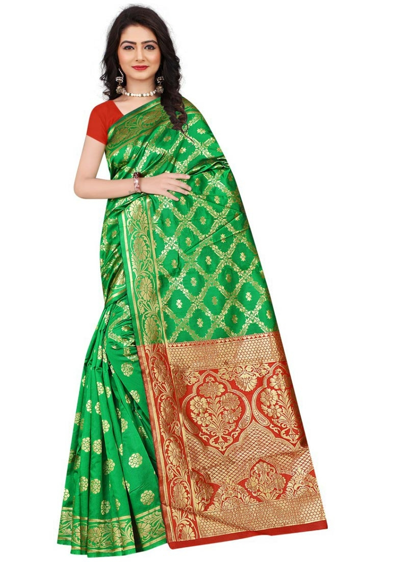 Art Silk Green and Red Traditional Designer Saree