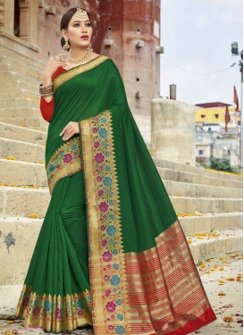 Art Silk Green and Red Trendy Classic Saree For Ceremonial