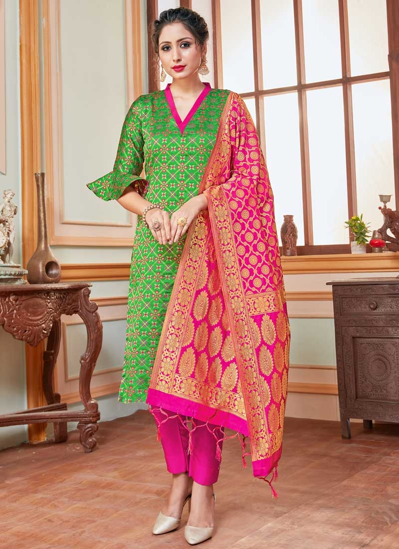 Art Silk Green and Rose Pink Woven Work Pant Style Classic Salwar Suit