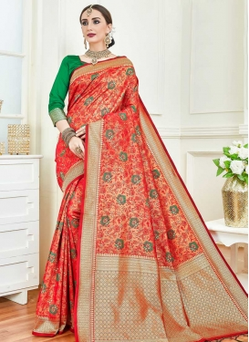Art Silk Green and Tomato Woven Work Designer Contemporary Saree