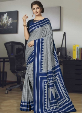 Art Silk Grey and Navy Blue Trendy Saree For Casual