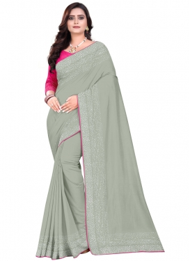 Art Silk Grey and Rose Pink Thread Work Classic Saree