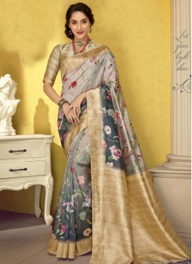 Art Silk Grey and Silver Color Designer Contemporary Style Saree