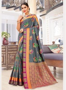 Art Silk Grey Weaving Silk Saree