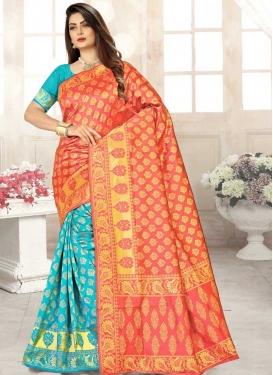 Art Silk Half N Half Trendy Saree