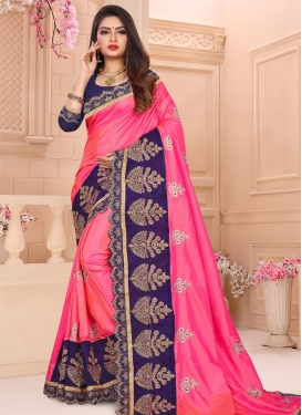 Art Silk Hot Pink and Navy Blue Traditional Designer Saree For Ceremonial