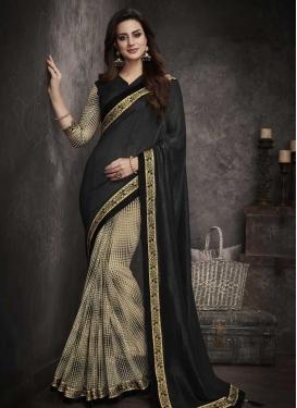 Art Silk Lace Work Beige and Black Half N Half Saree