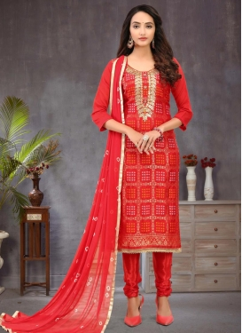 Art Silk Lace Work Trendy Churidar Salwar Suit