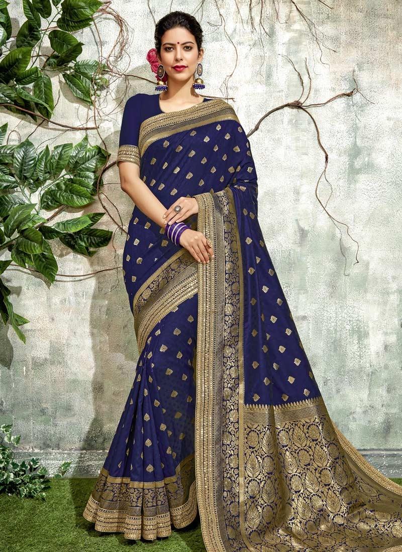 Art Silk Lace Work Trendy Saree