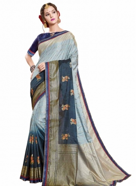 Art Silk Light Blue and Navy Blue Trendy Classic Saree For Ceremonial