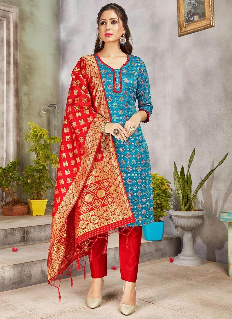 Art Silk Light Blue and Red Pant Style Salwar Suit