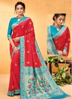 Art Silk Light Blue and Red Woven Work Designer Traditional Saree