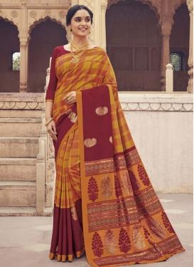 Art Silk Maroon and Orange Digital Print Work Trendy Classic Saree