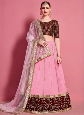 Art Silk Maroon and Pink Lace Work Designer A Line Lehenga Choli