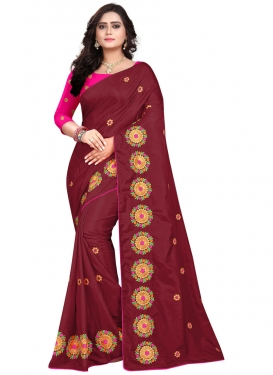 Art Silk Maroon and Rose Pink Embroidered Work Trendy Classic Saree
