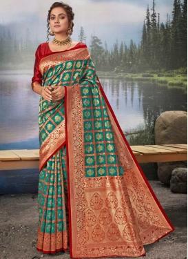 Art Silk Maroon and Sea Green Designer Traditional Saree