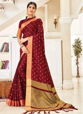 Art Silk Maroon Woven Traditional Designer Saree