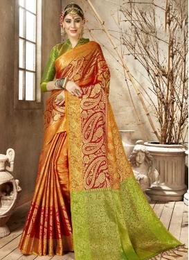 Art Silk Mint Green and Orange Woven Work Traditional Designer Saree