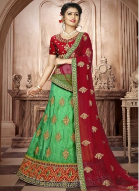 Art Silk Mint Green and Red A - Line Lehenga
